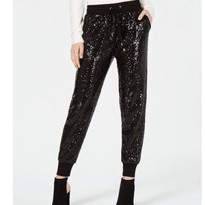 XOXO Black Pull-On Sequin Jogger Pant Size XS New